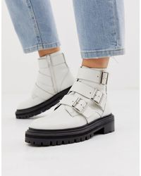 ASOS Aviate Premium Leather Biker Boots - White