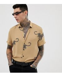 Heart & Dagger Printed Shirt With Leopard Print - Brown