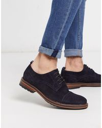 River Island Suede Derby With Toecap - Blue