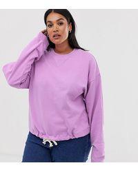ASOS Asos Design Curve Oversized Sweatshirt With Rope Trim Hem - Purple