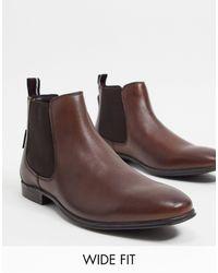 Ben Sherman Коричневые Кожаные Ботинки Челси Wide Fit-черный - Коричневый