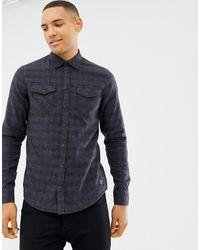 Blend Slim Fit Check Shirt - Blue