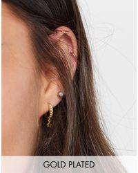 Orelia Gold Plated Crystal Pave huggie Hoop Earrings - Metallic