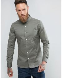 ASOS - Slim Twill Shirt In Light Green - Lyst