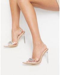 SIMMI Shoes Simmi London - Karoline - Schoenen Met Hak En Diamanten Strik - Naturel