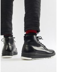ASOS - Design Lace Up Boots In Black Leather - Lyst