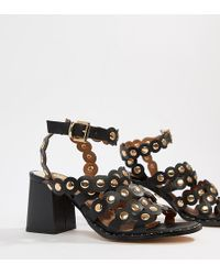 River Island Heeled Sandals With Scallop Detail - Black