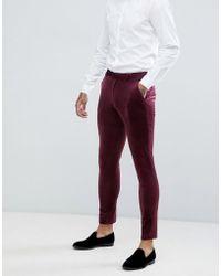 ASOS Super Skinny Prom Suit Pants In Burgundy Velvet