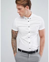 ASOS - Design Skinny Shirt In White With Short Sleeves And Contrast Buttons - Lyst