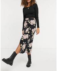 Warehouse Sia Floral Printed Midi Skirt - Black