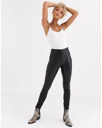 New Look Leather Look leggings - Black
