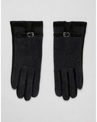 Barneys Originals Suede & Cord Mix Gloves - Black