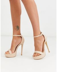 Truffle Collection Platform Barely There Heeled Sandals - Natural