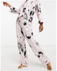 ASOS Розовые Комбинируемые Пижамные Брюки Из 100% Модала С Астрологическим Принтом - Розовый