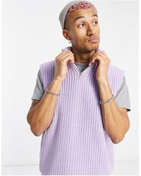 ASOS Oversized Knitted Half Zip Sweater Vest - Purple