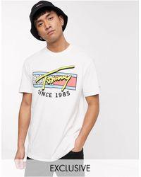 Tommy Hilfiger Exclusief Bij Asos - T-shirt Met Kenmerkende Neon Borstprint - Wit