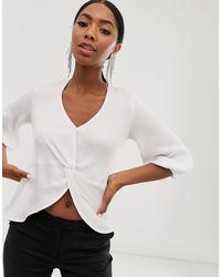 Closet Blusa corta bianca con nodo sul davanti - Bianco