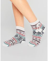 French Connection - Fairisle Slipper Socks With Pom Pom Tie - Lyst
