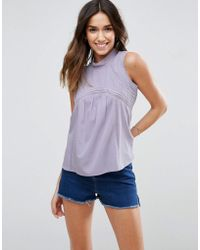 ASOS - Sleeveless Blouse With Pintuck & Lace - Lyst