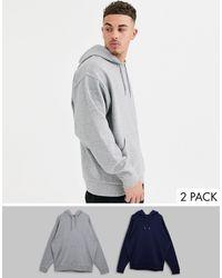 ASOS Набор Из 2 Oversize-худи (серый Меланж/темно-синий)