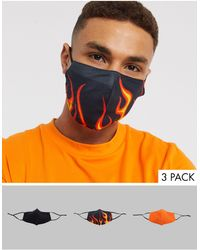 ASOS 3 Pack Face Covering With Flame Design - Multicolor