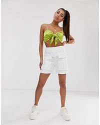 Missguided High Waisted Shorts With Utility Pockets - White