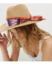 ALDO - Straw Hat With Colourful Scarf - Lyst