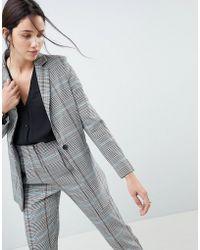 ASOS DESIGN - Longline Slim Blazer In Coloured Check - Lyst
