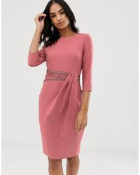 Little Mistress Long Sleeve Embellished Lace Insert Midi Dress - Pink