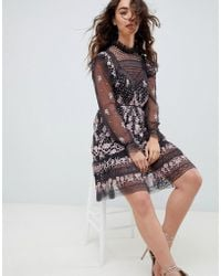 Needle & Thread - Embroidered Lace Dress With Sheer Sleeves In Multi - Lyst