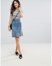 6b4f6d707e Soaked In Luxury - Embroidered Denim Pencil Skirt - Lyst