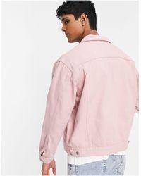 TOPMAN Giacca di jeans rosa con tasche