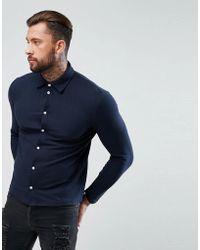 BoohooMAN - Regular Fit Shirt In Navy - Lyst
