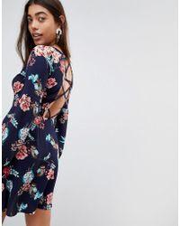 Boohoo - Floral Criss-cross Back Dress - Lyst