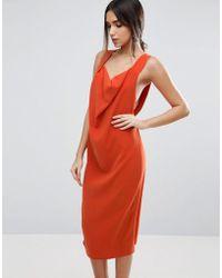 ASOS - Drape Cowl Front Strap Midi Dress - Lyst