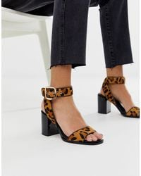 River Island Block Heeled Sandals With Ankle Strap - Multicolor