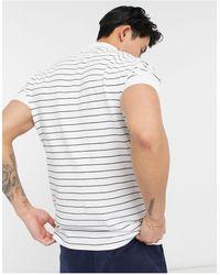 Abercrombie & Fitch Белое Поло Из Пике В Полоску С Логотипом -белый