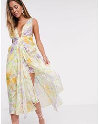 ASOS Robe mi-longue style caraco avec décolleté - Imprimé fleurs effet délavé - Rose