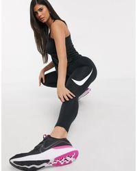 Nike Черные Леггинсы С Логотипом -черный