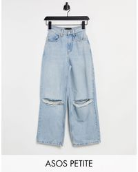 ASOS Asos Design Petite High Rise 'relaxed' Dad Jeans - Blue