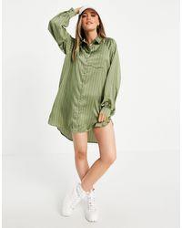 Lola May Платье-рубашка Цвета Хаки В Стиле Oversized С Асимметричным Краем И Принтом В Полоску -зеленый