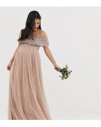 878b67de9fde Vestido largo de tul de dama de honor con escote Bardot en rubor marrón con  lentejuelas delicadas a tono