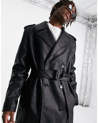 ASOS Faux Leather Trench Coat - Black