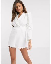 River Island Broderie Embroidered Playsuit - White