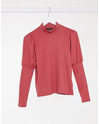 New Look Ribbed Puff Sleeve Top - Pink