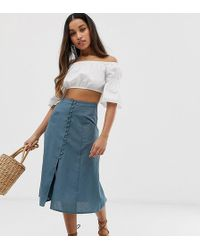 ASOS - Asos Design Petite Midi Skirt With Button Front - Lyst