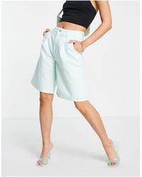 ALIGNE Organic Cotton Denim Wide Leg City Shorts - Blue