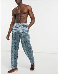 ASOS Loungepyjamabroek Van Satijn Met Slangenprint - Blauw