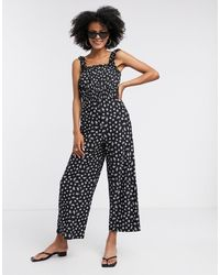 TOPSHOP Black And White Shirred Jumpsuit