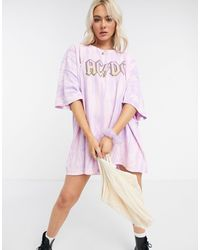 Daisy Street Oversized T-shirt Dress With Acdc Graphic - Purple
